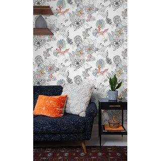 NextWall Paisley Floral Peel and Stick Removable Wallpaper - 20.5 in. W x 18 ft. L