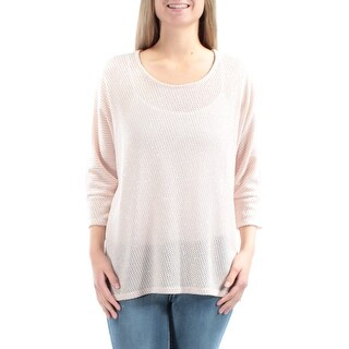 ALFANI Womens Pink Short Sleeve Jewel Neck Sweater Size: M