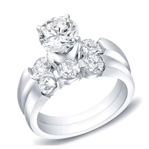 Auriya 14k Gold 2 1/2ctw Classic 3-stone Diamond Engagement Ring Set
