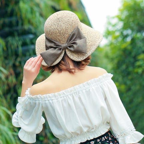 Women's Sunscreen Straw Hat With Split Big Bow