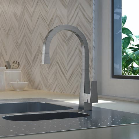 Santorini Collection. Pull-Down head (no spray feature) kitchen faucet. Brushed stainless finish. By Lulani