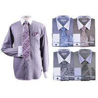 Men's Glenplaid Cotton Shirt Tie Cufflink Set