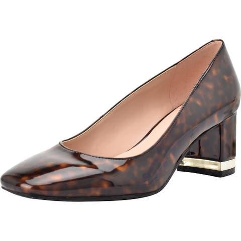 Bandolino Womens Claire 3 Block Heels Patent Square Toe - Medium Brown
