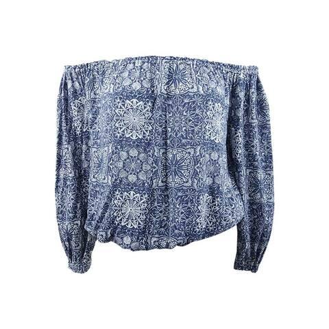 Tommy Hilfiger Women's Plus Size Off-The-Shoulder Printed Top - Indigo Multi