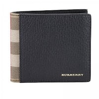 Burberry men's genuine leather wallet credit card bifold tartan house check black
