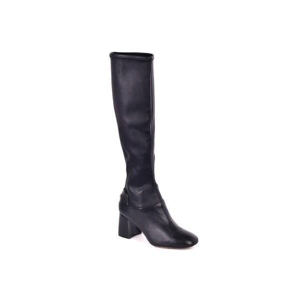 ed68d18ed30c0 Shop Tory Burch Women s Black Leather Sidney Missa Knee High Boots ...