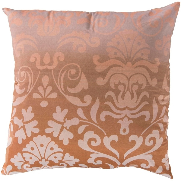 "18"" Tuscany and Salmon Pink Decorative Square Throw Pillow - Down Filler"
