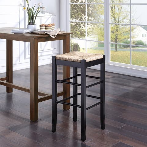 The Curated Nomad Slaot Woven 29-inch Square Counter Stool
