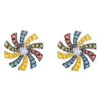Prism Jewel 0.59Ct SI1 Multi Color Diamond & G-H/I1 Natural Diamond Round Shape Flower Earring
