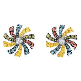 Prism Jewel 0.59Ct SI1 Multi Color Diamond & G-H/I1 Natural Diamond Round Shape Flower Earring
