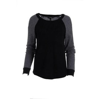Aqua Womens Cashmere Colorblock Pullover Sweater - S