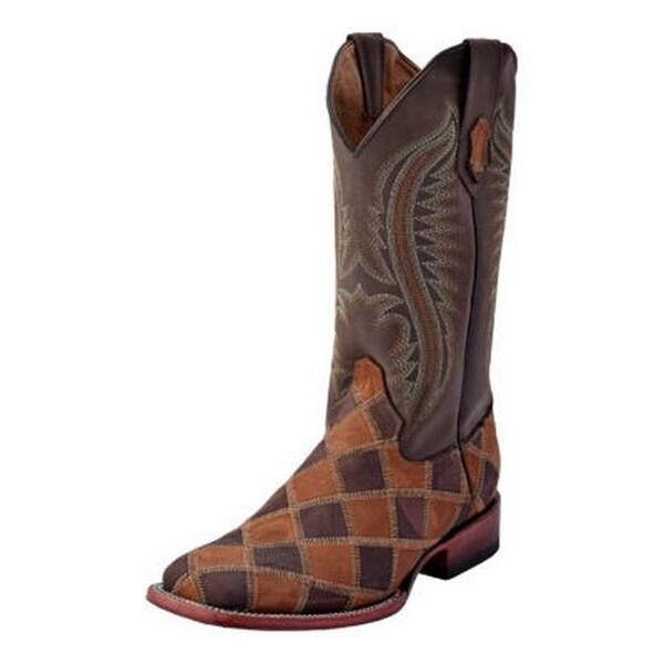 Ferrini Western Boots Mens Maverick Patch Square Leather Block