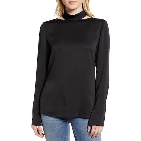 Trouve Women's Black Size Small S Long Sleeve Cutout Turtleneck Top