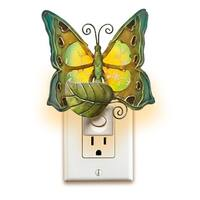 """Pack of 2 Teal and Forest Green Capiz Shell Butterfly with Floral Accent Night Lights 6.5"""""""