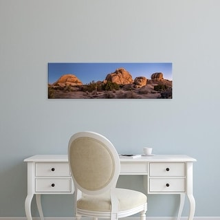 Easy Art Prints Panoramic Image 'Rock formations  with Juniper trees, Joshua Tree National Park, California' Canvas Art