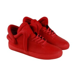 Supra Falcon Mens Red Leather Lace Up Sneakers Shoes