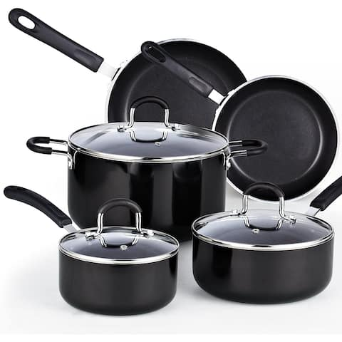 Cook N Home 8-Piece Nonstick Heavy Gauge Cookware Set, Black