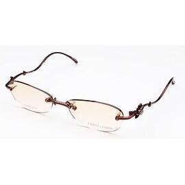 Judith Leiber Rimless Swarovski Titanium Eyeglasses Brown