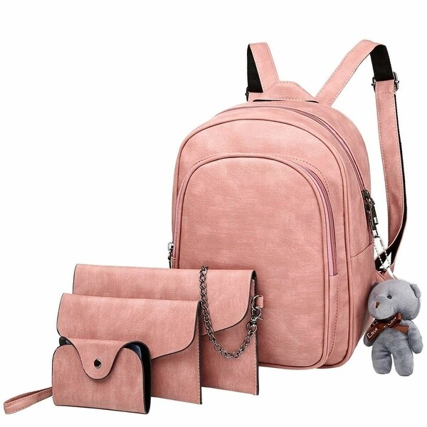 4797f0dad2 4-in-1 PU Leather Backpack Purse Set Fashion Backpacks with Shoulder Bag  Handbag