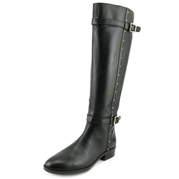 Vince Camuto Preslen Women Round Toe Leather Black Knee High Boot