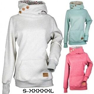 Women's Sweatshirts Long Sleeve Button V-Neck Pockets Sweatshirts Pullover Hoodies