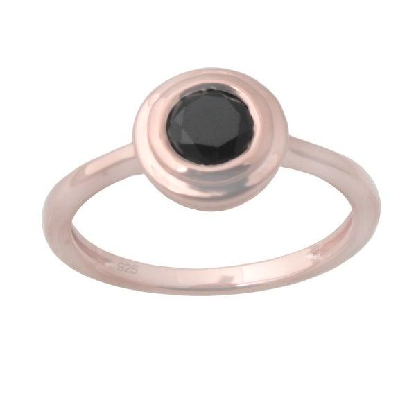 Prism Jewel 5.50MM 0.75CT Black Diamond Bezel Set Solitaire Engagement Ring