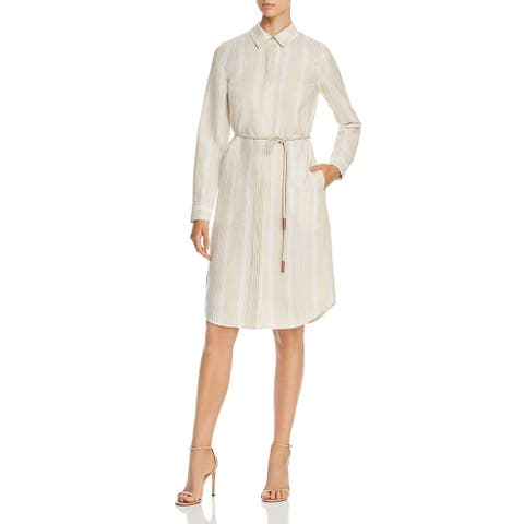 Lafayette 148 New York Womens Peggy Shirtdress Linen Striped - Candlelight Multi
