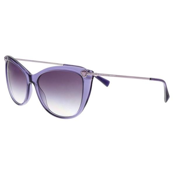 abfc46a30314 Versace VE4345B 516036 Transparent Violet Cat Eye Sunglasses - No Size