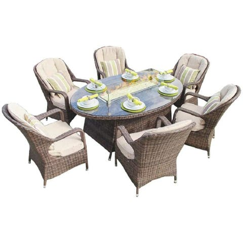 Eton 7-Piece Wicker Patio Furniture Dining Set Gas Fire Pit Dining Table Garden Rattan Conversation Sofa Set