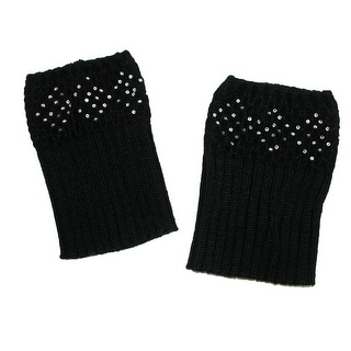 CTM® Rhinestone Accent Knit Boot Cuffs - One size
