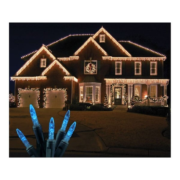 Christmas at Winterland S-ICM5BL-IG Standard Icicle Lights M5 LED Blue Faceted 70 Lights Green Wire 22 Gauge