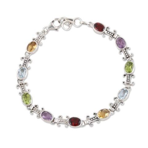 NOVICA Jazzy Elegance, Multi-gemstone link bracelet