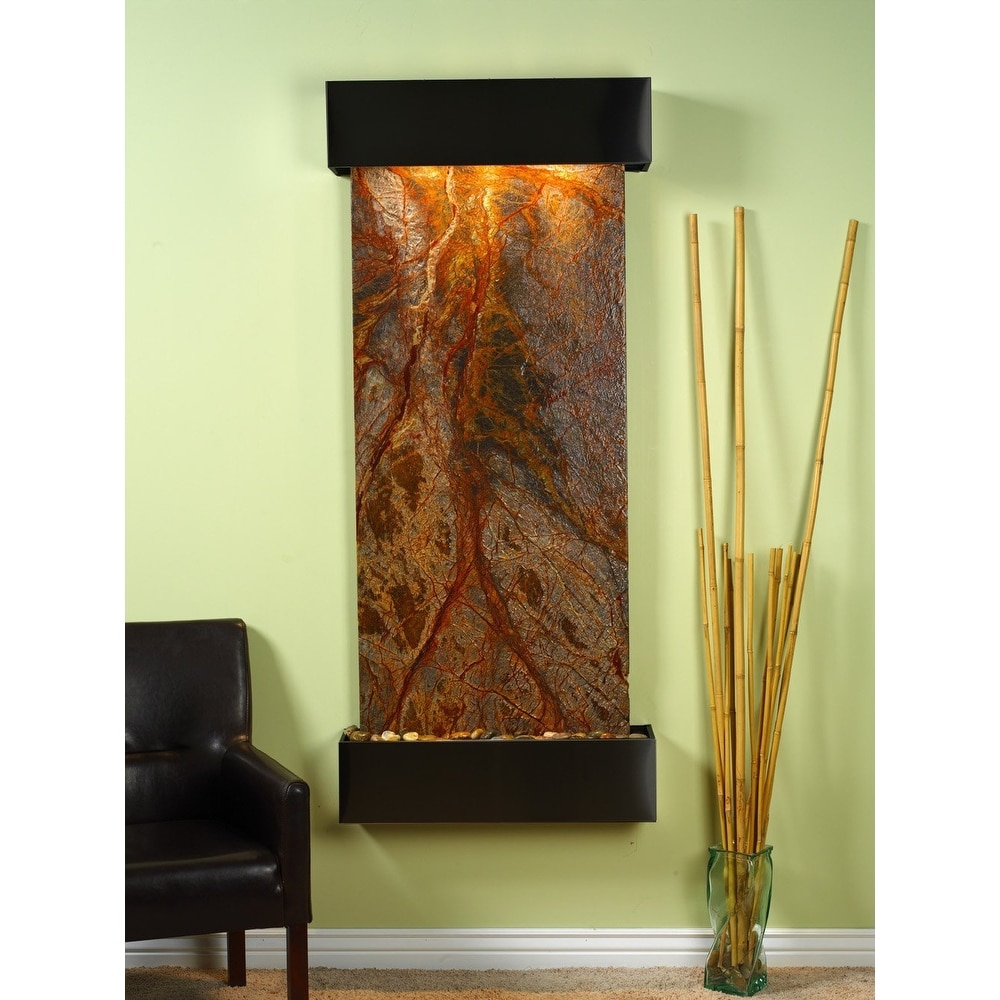 Adagio Inspiration Falls Fountain w/ Brown Rainforest Marble in Blackened Copper - Thumbnail 0