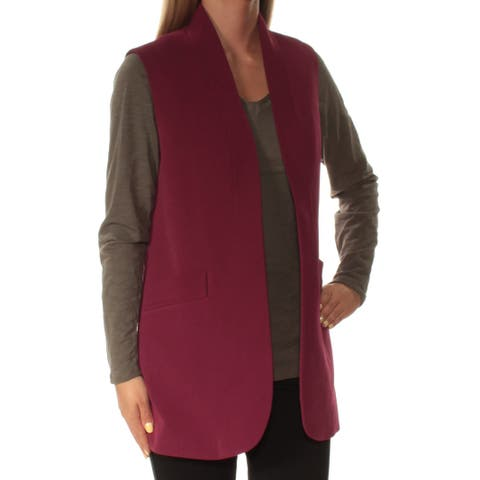 ANNE KLEIN Womens Purple Sleeveless Open Cardigan Top Size: 2