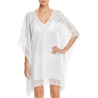 Ella Moss Womens Crochet Trim Pattern Kimono Swim Cover-Up