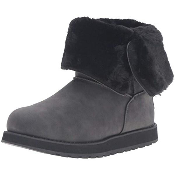 Skechers Women's Keepsakes Leatherette Mid Button Winter Boot,Black,9 M Us