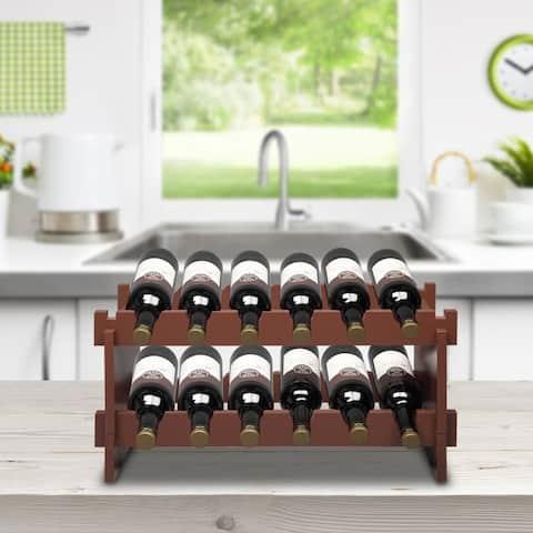 2-Tier Stackable Wine Rack, Holds 12 Bottles, Classic Style Wine Racks