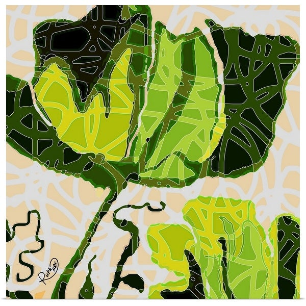 """""""Large Green And Yellow Abstract Flower"""" Poster Print"""