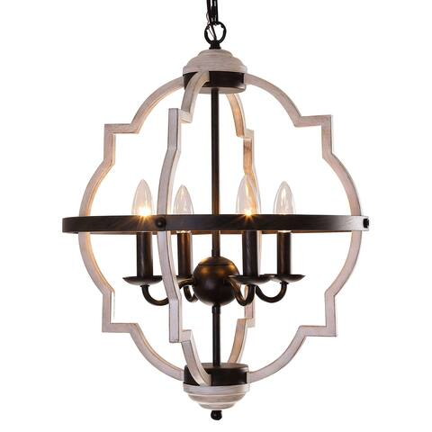 "Rustic 4-light Farmhouse Metal Chandelier - W17.7"" X D17.7"" X H22.25"""