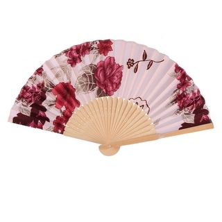 Lady Dancing Flower Pattern Chinese Style Foldable Hand Fan Light Pink Burgundy