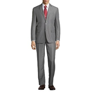 Ike Behar New York Grey Wide Striped Suit 38R Flat Front Pants 32W Made In Italy