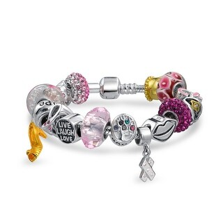 Bling Jewelry Pink Ribbon Breast Cancer Awareness Enamel Glass CZ Bead Charm Bracelet 925 (5 options available)
