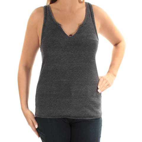 WE THE FREE Womens Black Sleeveless V Neck Top Size: L