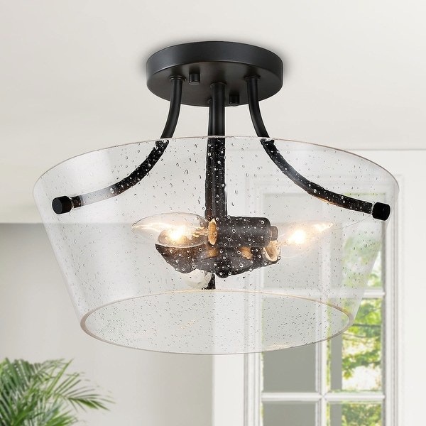 "Modern Semi Flush Mount 3-lights Beaded Glass Ceiling Lighting - D13""x H10"". Opens flyout."