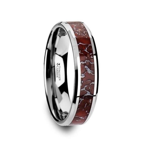 THORSTEN - JURASSIC Red Dinosaur Bone Inlaid Tungsten Carbide Beveled Edged Ring - 4mm