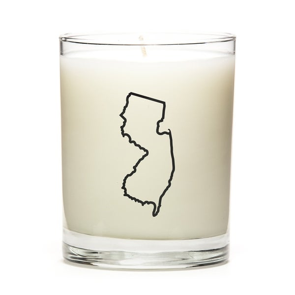 State Outline Soy Wax Candle, New-Jersey State, Peach Belini