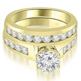 1.65 cttw. 14K Yellow Gold Channel Set Round Cut Diamond Bridal Set