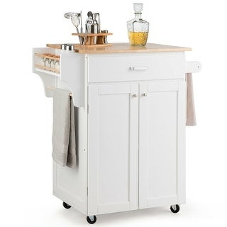 Gymax Rolling Kitchen Island Utility Kitchen Cart Storage Cabinet w/ Spice Rack White