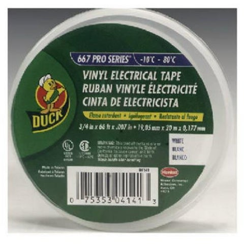 Duck 04141 0.75 in. x 66 ft. White Vinyl Electrical Tape