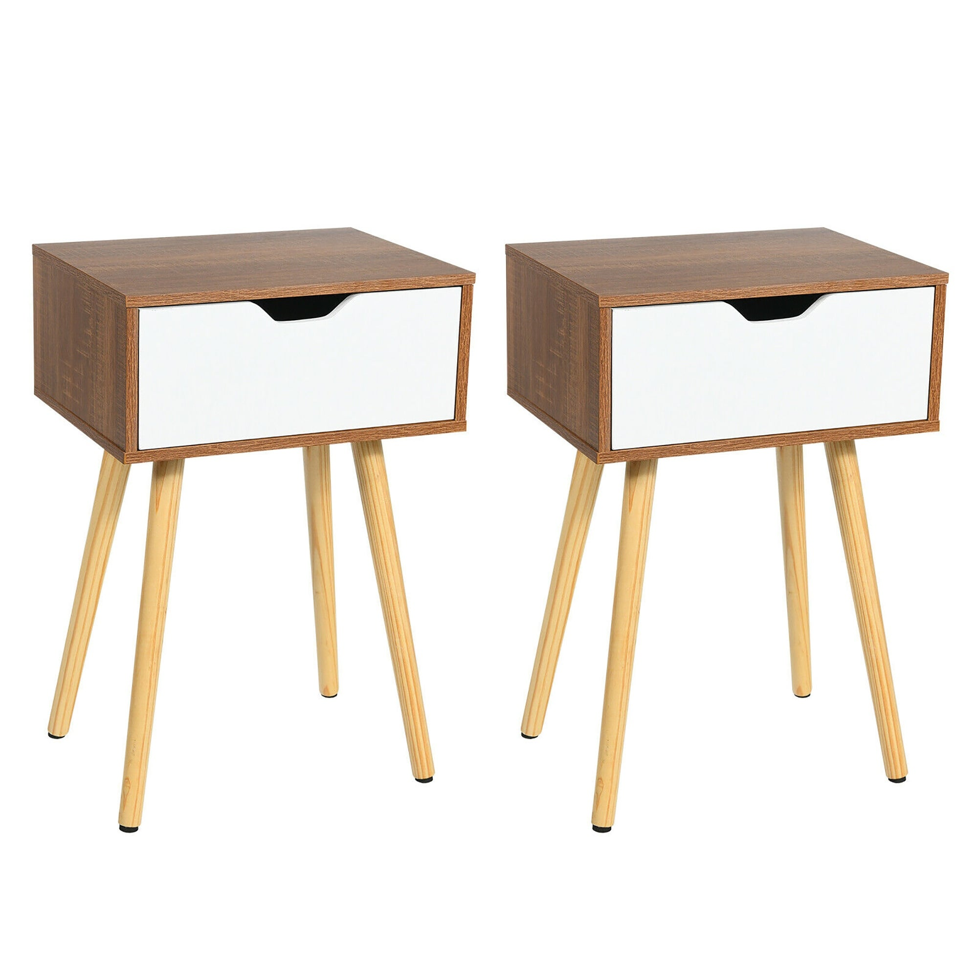 Easy Assembly【US Fast Shipment】 Bedroom Night Stand Bedside Table Coffee Table Bedroom Furniture Nightstand with 2 Drawer for Living Room Office End Table Storage Cabinet Wild Entryway